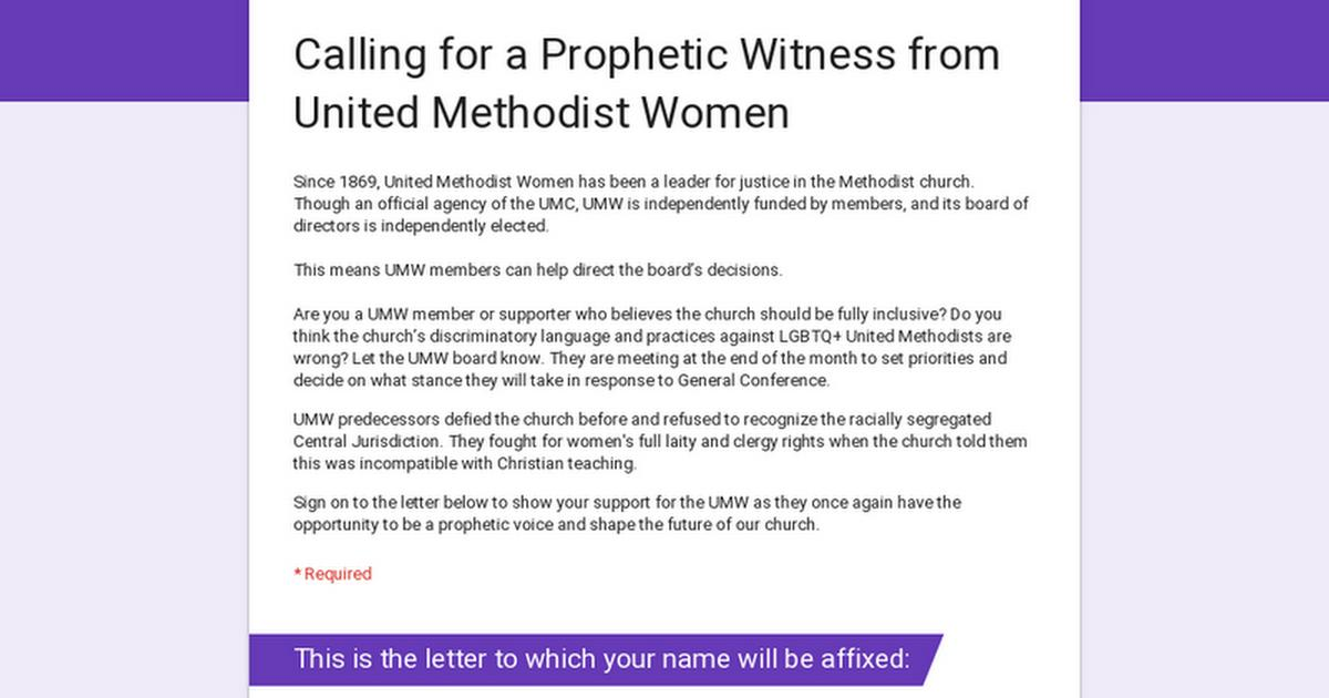 This is a call for a prophetic witness from United Methodist Women. Are you a UMW member or supporter who believes the Church should be fully inclusive? Now is the time to let the UMW board know.   Sign here: https://buff.ly/2Ftzyuz  #foreveryoneborn #umc #umcgc #gc2019