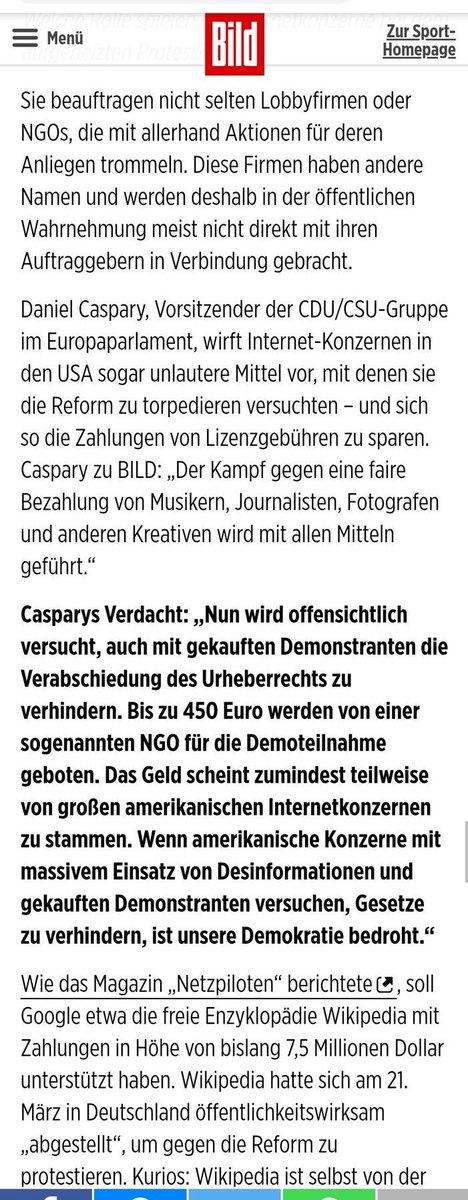 CDU/CSU verbreitet offen Verschwörungspropaga und Unwahrheiten über die #Artikel13-Gegner, und die…