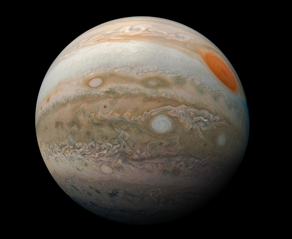 A new view of Jupiter from the camera on our @NASAJuno mission reveals the planet's turbulent southern hemisphere. 📸 Can you see the Great Red Spot?  Click through for the full resolution: https://go.nasa.gov/2HOWN3K