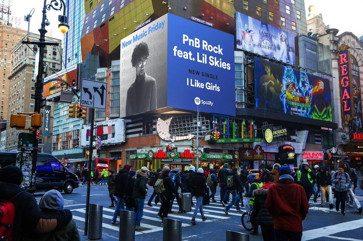I like girls going up!!! Let's get it to #1 S/O to @Spotify for the billboard in NYC and Toronto #newmusicfriday #TSTPS #ILG —&gt;  https:// PNBrock.lnk.to/ILikeGirls  &nbsp;  <br>http://pic.twitter.com/V36cWLXgxE