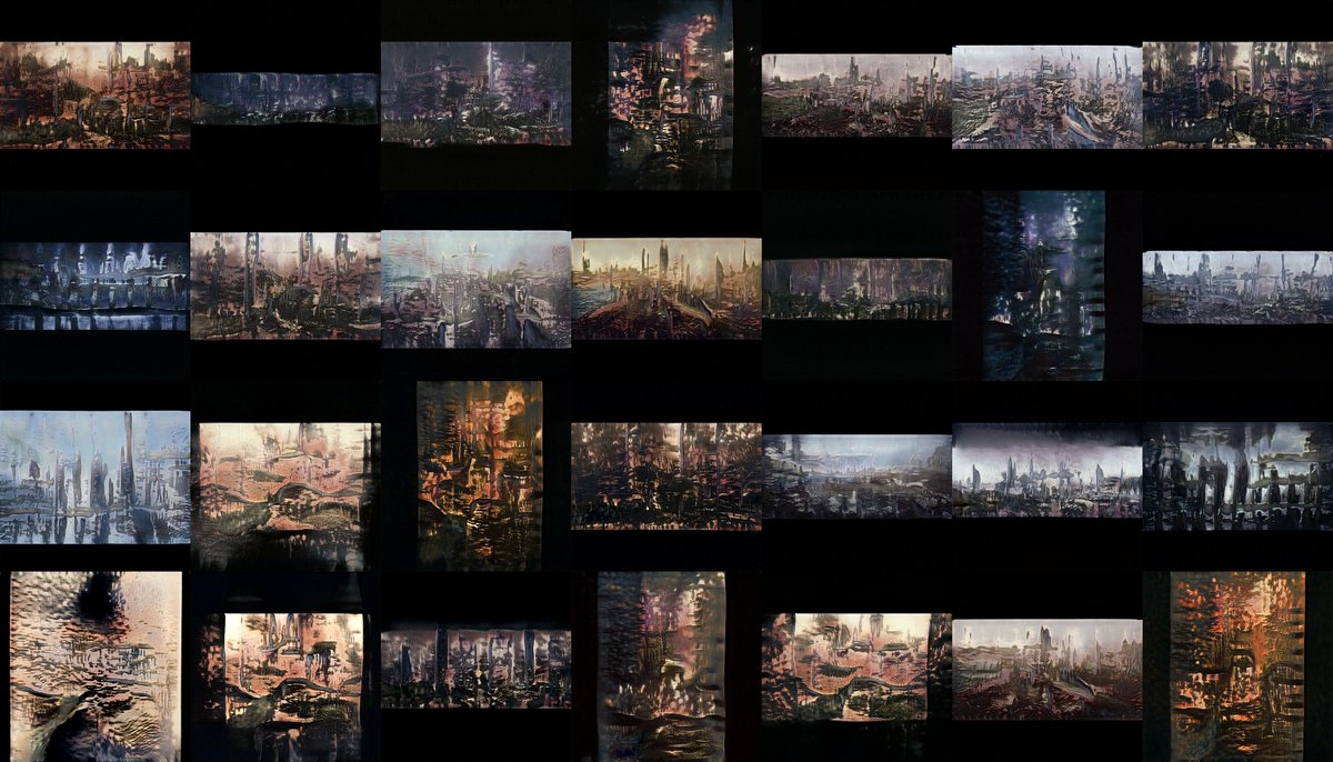 if you dont zoom in they actually look kinda cool cityscapes concept art stylegan