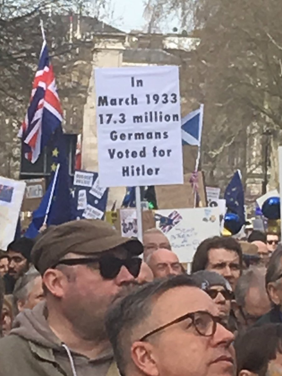 Anti Brexit March poster: Here's a coincidence I'd missed, mean but relevant. Decent people make bad choices for heart-felt reasons and often pay the price themselves