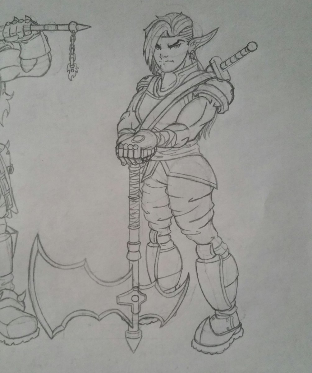 Another Drow Fighter with a Greataxe.   #DnD #DandD #DungeonsandDragons #Drow #Fighter #Greataxe #Sketch