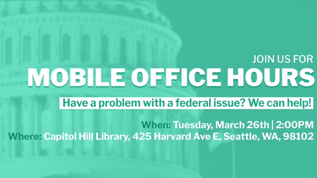 Need help with a federal agency? Join my staff TUESDAY, March 26th at the Capitol Hill Library for mobile office hours. My team will be on hand to answer questions and update you on what we're doing in #WA07! RSVP HERE: http://tinyurl.com/y6zyn3om
