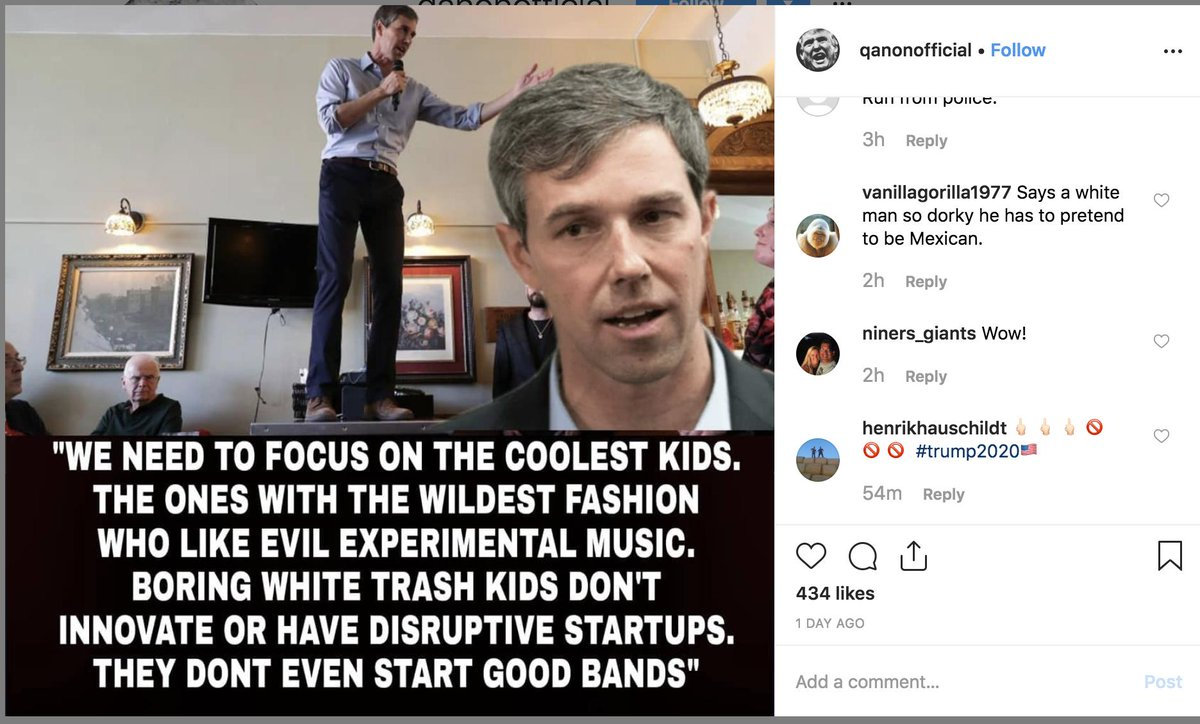 There&#39;s a truly incredible Qanon account on Instagram with +11k followers that&#39;s been pumping out totally fake quotes attributed to Beto, AOC, Bernie Sanders, John McCain, Kamala Harris. Just totally bonkers stuff getting good engagement! <br>http://pic.twitter.com/dEIRWVYKck