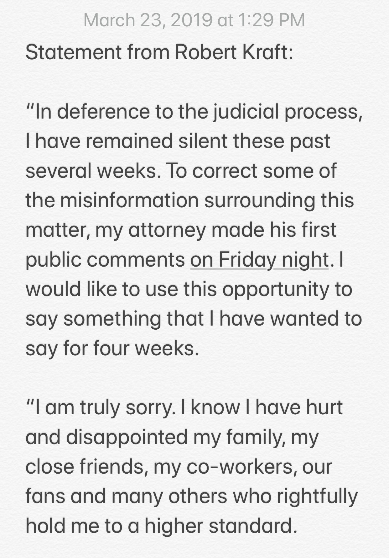 Statement from Patriots' owner Robert Kraft: https://t.co/GiswaNQxh4