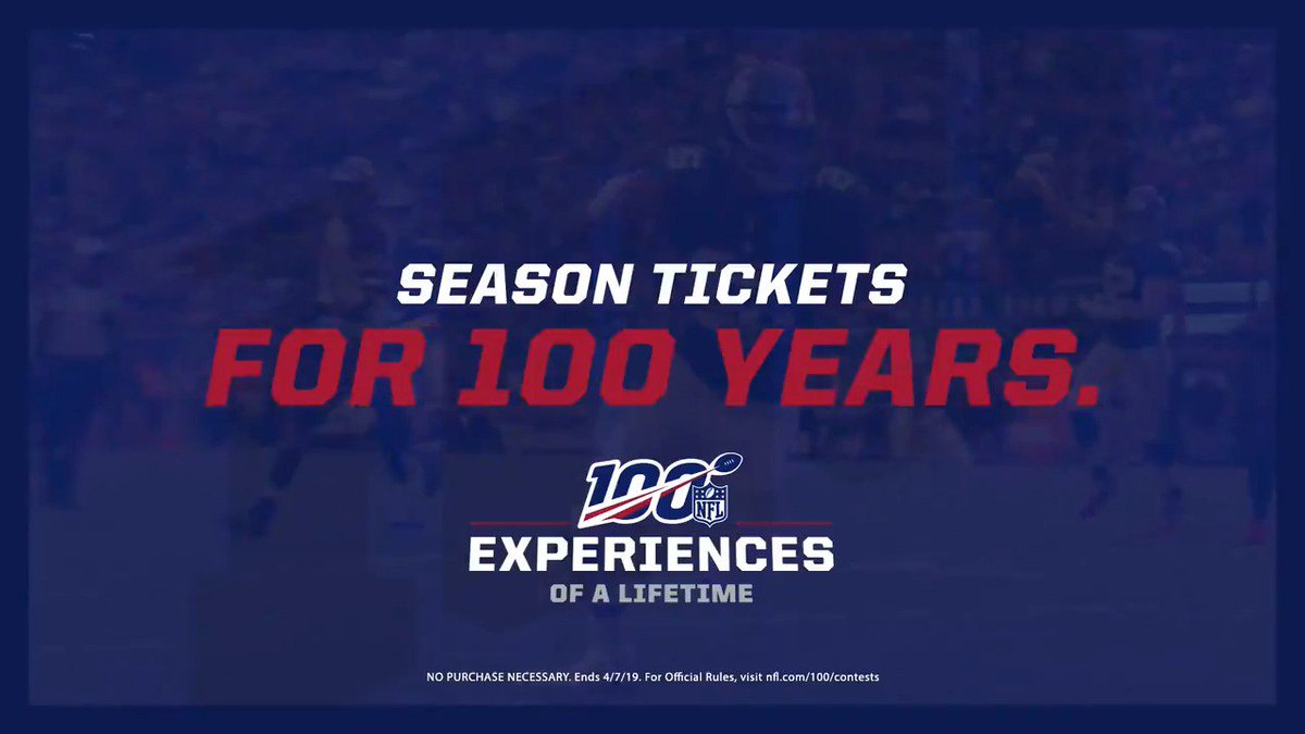 100 👏YEARS👏OF👏SEASON👏TICKETS! Enter to win a pair of #NYGiants season tickets for the next century by posting to Instagram or Twitter proving you're the biggest football fan. Tag #NFL100Contest and @NFL to be eligible.   Details: http://nfl.com/100/contests