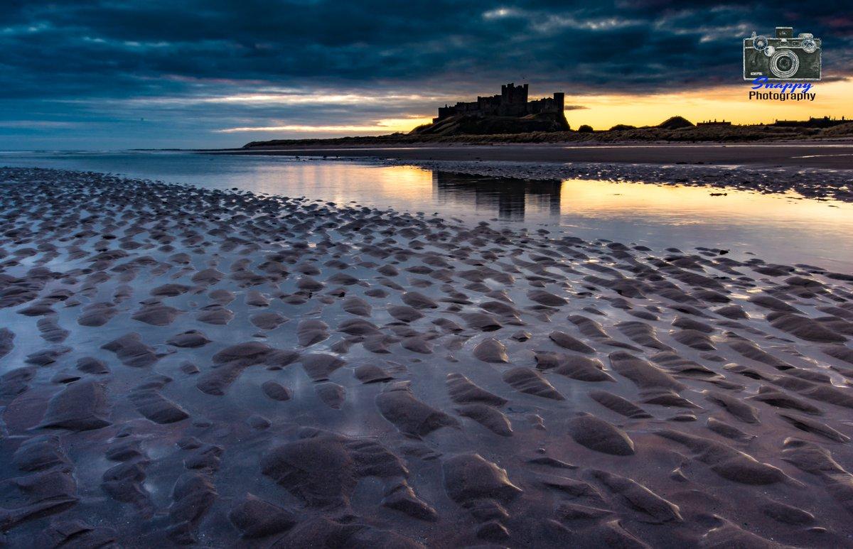 Sand Ripples at Sunrise - Bamburgh Beach and Castle #StormHour #POTW