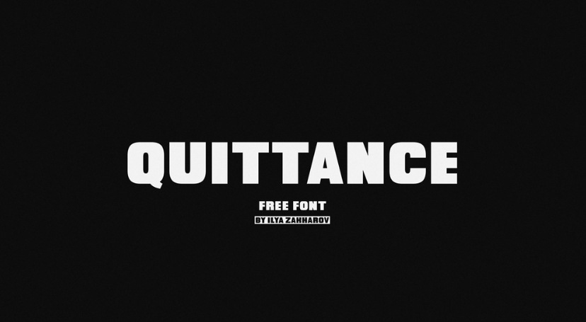 Quittance, from Ilya Zakharov, is a free all caps, bold and strong sans serif. This font is great for eye-catching headlines, posters, covers, logo design, and more.   Download here:  https://www. pixelsurplus.com/freebies/quitt ance-free-bold-display-font &nbsp; …  <br>http://pic.twitter.com/fPt0AabtVC