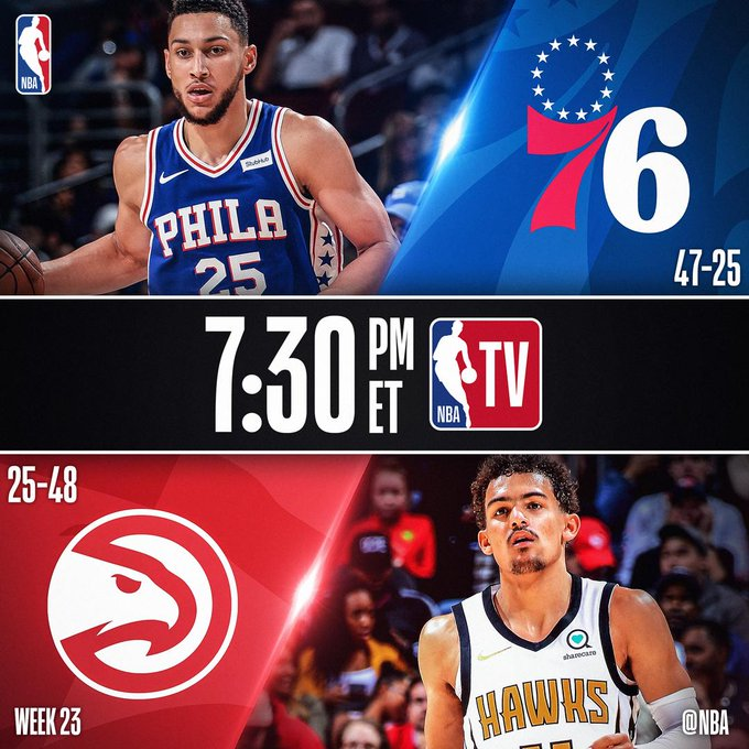 TONIGHT on @NBATV...  📺 @sixers 6-game win streak visits ATL (7:30pm/et) 📺 Rising @DetroitPistons take on No. 4 in the West @trailblazers (10