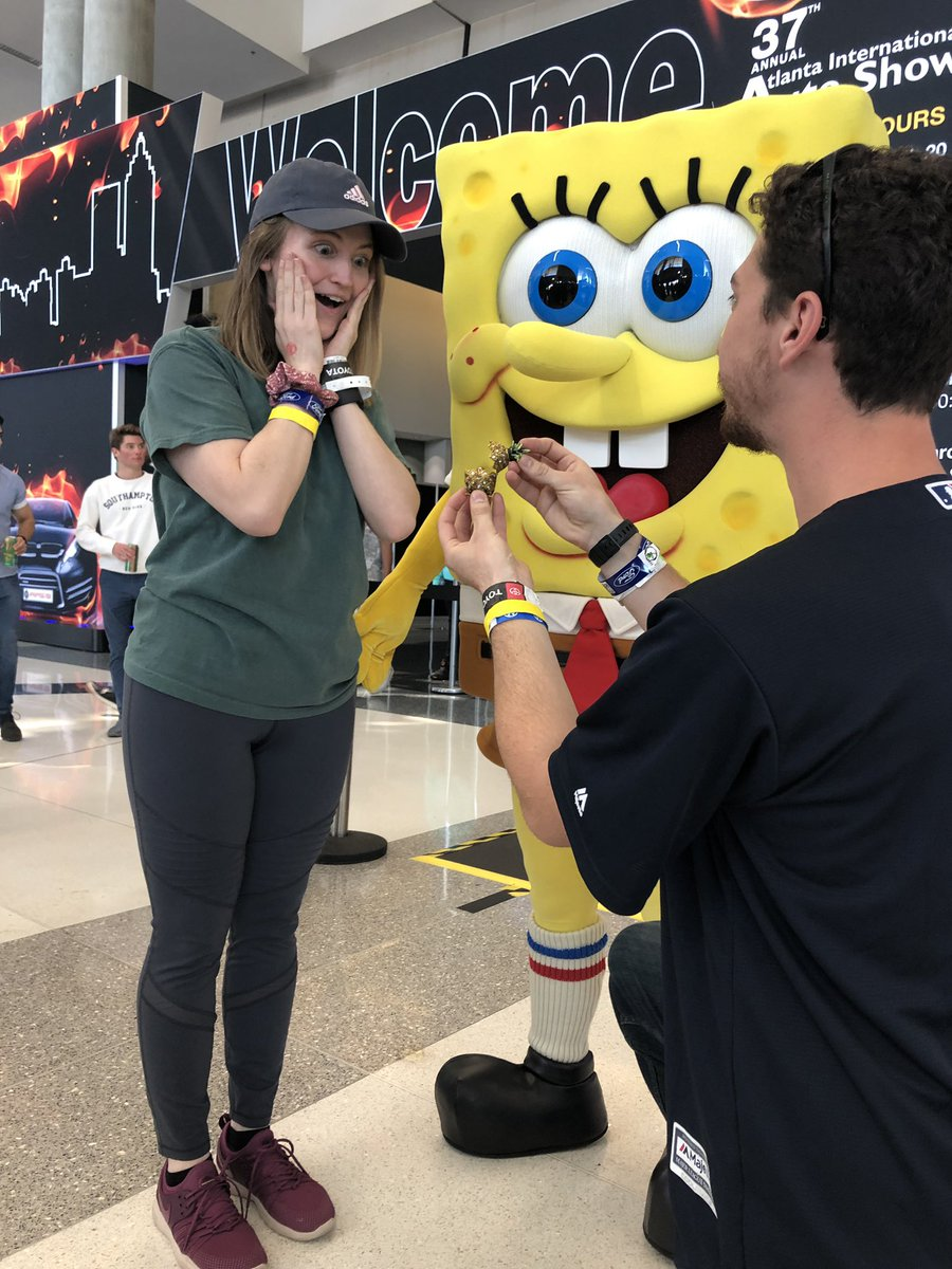 This may be an Atlanta International Auto Show first - a SpongeBob engagement! #Congrats Sydney & Austin! #AIAS19 #engagement #gettingmarried