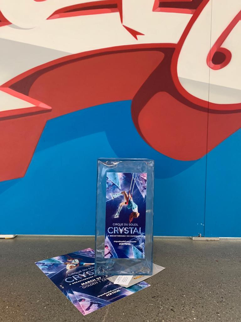 The Suns may be in town today, but we're bringing the ICE ❄️  Spot one of the many @Cirque ice cubes hidden around Golden 1 Center at tonight's game, and you might just find a free pair of tickets to #CRYSTAL! 👀⤵️