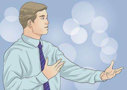 استخدم إيماءات اليد عند التحدث : يؤمن الخبراء أن المتحدثين البارعون هم الذين يعرفون كيف يستخدمون أيديهم أثناء الحديث، ويعتقدون بأن الإيماءات اليدوية تجعل المستمعين يشعرون بثقة أكبر في المتحدث.