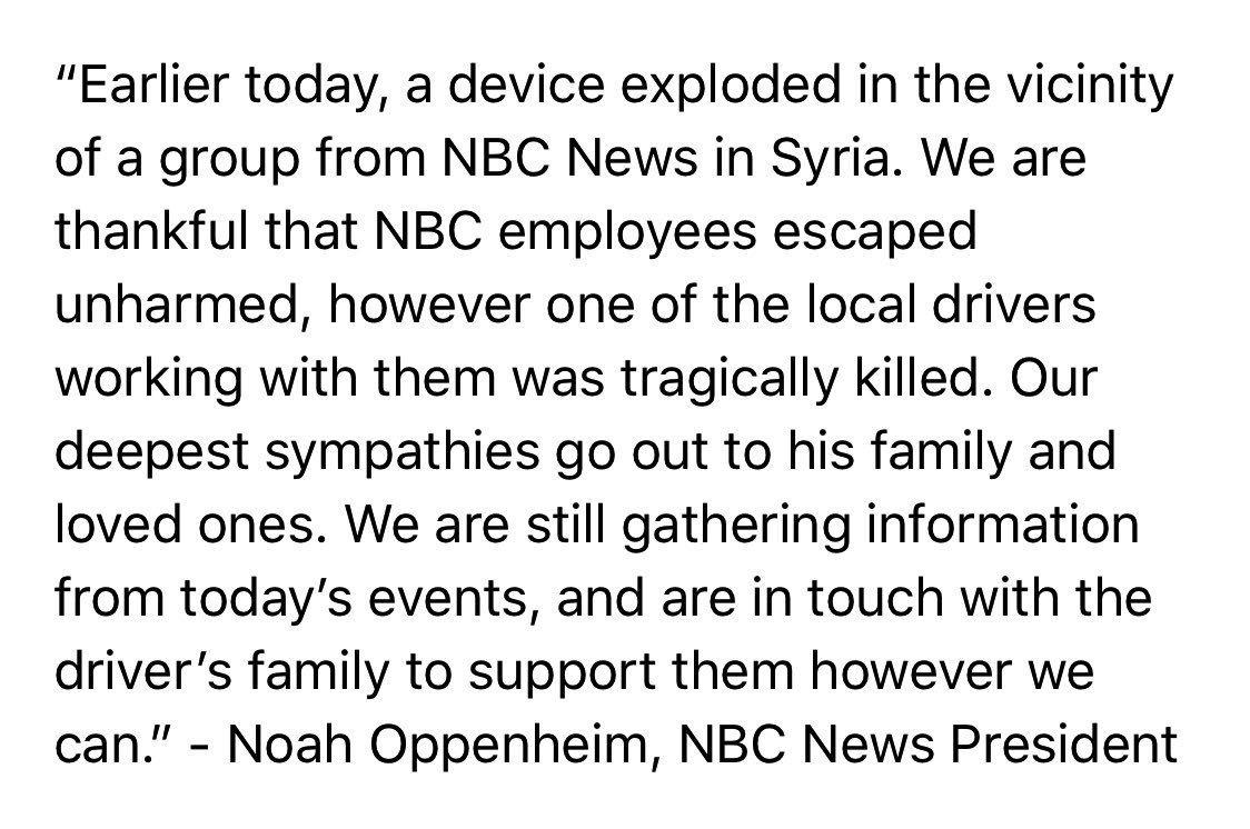 Statement from @NBCNews President Noah Oppenheim: