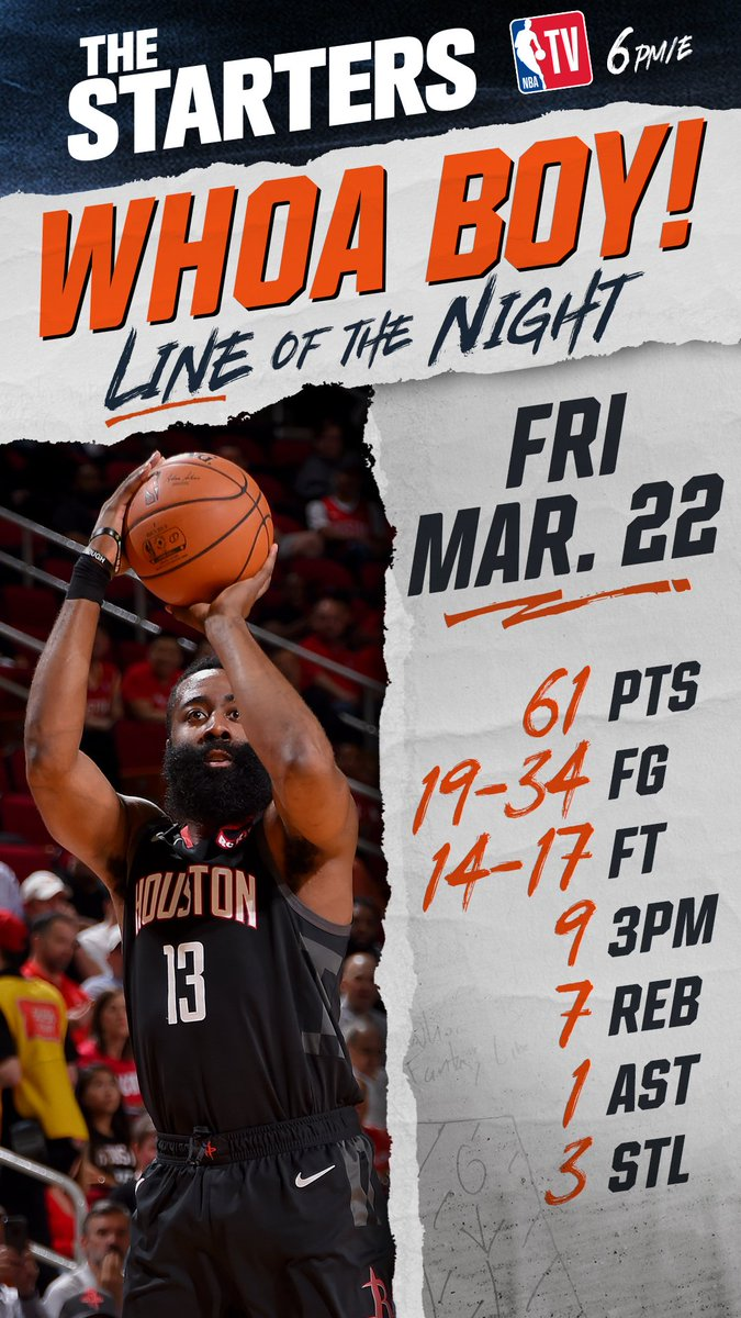 And another one. The @HoustonRockets @JHarden13 wins Friday's #WhoaBoy of the Night. 🚀 #TheStarters