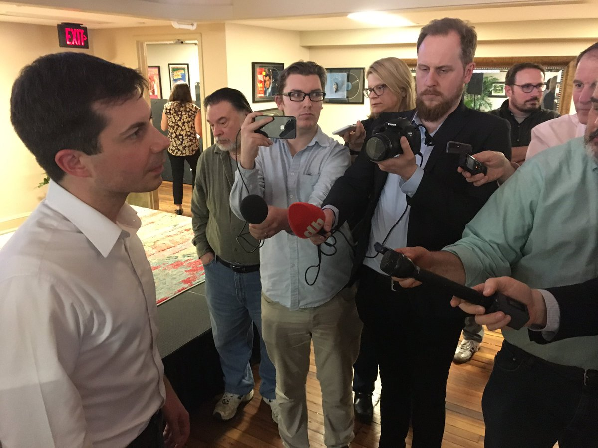 """Asked @PeteButtigieg why he's not going to AIPAC. """"I wasn't invited!"""" He doesn't rule out going in future."""