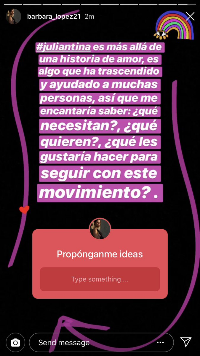 "Barbara on instagram: ""Juliantina is more than a love story, it's something that has transcended and that has helped many people, I&#39;d love to know: what do you need? what do you want? what would you like to do to keep this movement going?""  <br>http://pic.twitter.com/1uQK4LB4cl"