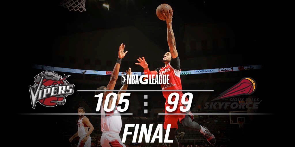 VIPERS TAKE THE WIN!!!🐍🔥  Michael Frazier with 24 PTS 7 REB @HoustonRockets assignee Gary Clark with double-double 13 PTS 11 REB Gary Payton II 13 PTS 8 assists  Chris Walker  12 PTS 9REB  #nbagleague #rgvvipers #nextlevel