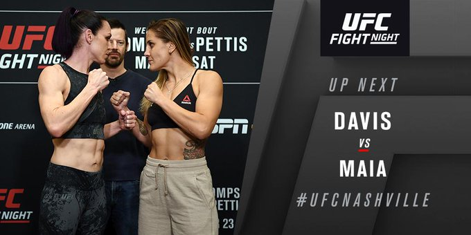 Another 🇨🇦 woman makes her way to the Octagon now as @AlexisDavisMMA takes on 🇧🇷 Jennifer Maia in flyweight action at #