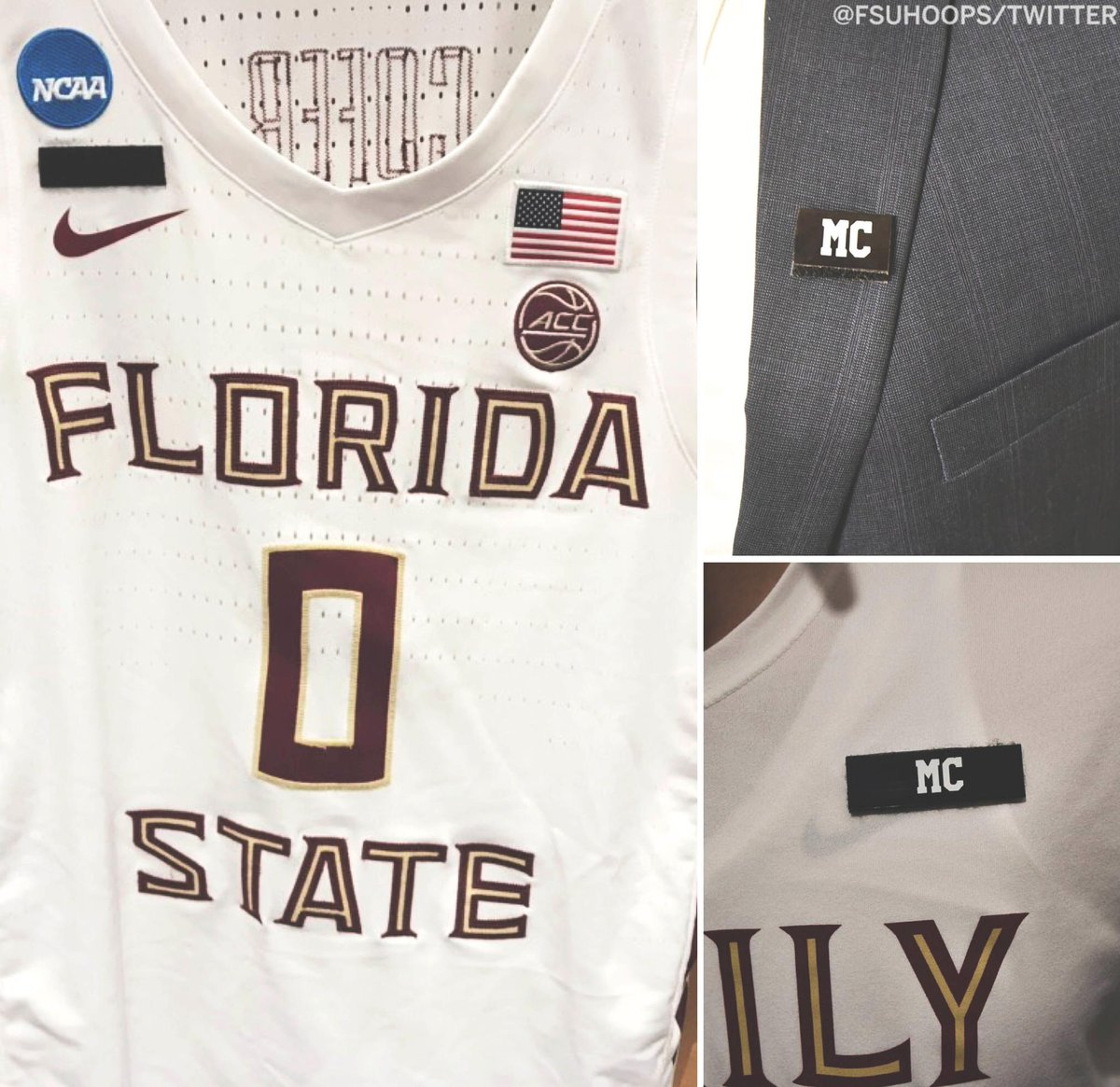"""After Thursday's game, @FSUHoops' Phil Cofer was told his father, Michael Cofer, passed away.  Tonight, the Seminoles are honoring Cofer's dad with """"MC"""" patches on their jerseys, suits and shirts."""