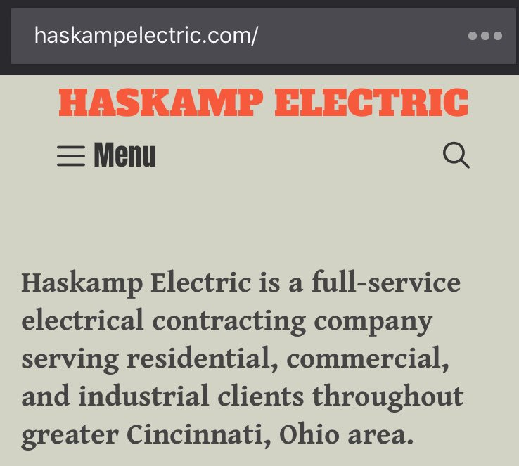 Just updated my dad's website... In case you need an electrician in the Cincinnati Ohio area 🤗 http://HaskampElectric.com