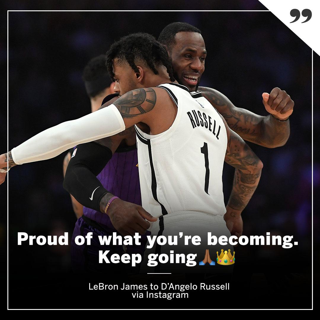 LeBron 🤝 D-Lo   The day after the Nets knocked the Lakers out of playoff contention. (via @KingJames)
