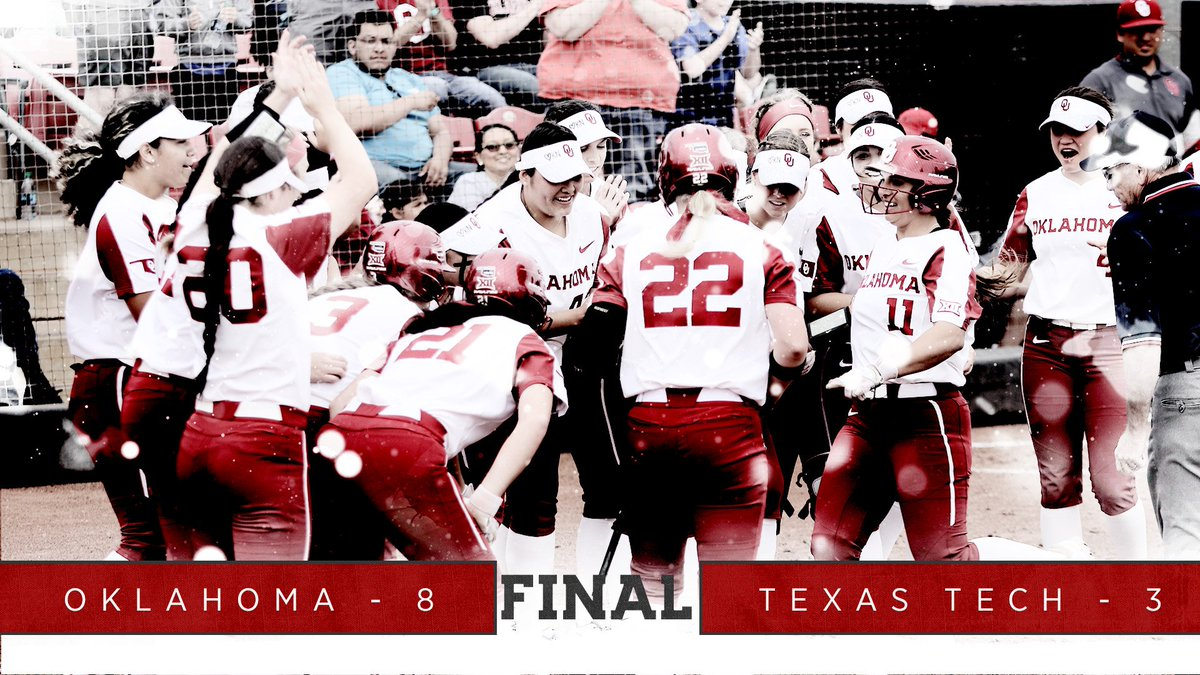 #Sooners claim the series!   Oklahoma hits four home runs to take down No. 14/12 Texas Tech in game two of the conference series!   #ChampionshipMindset<br>http://pic.twitter.com/df0EKo5K1e