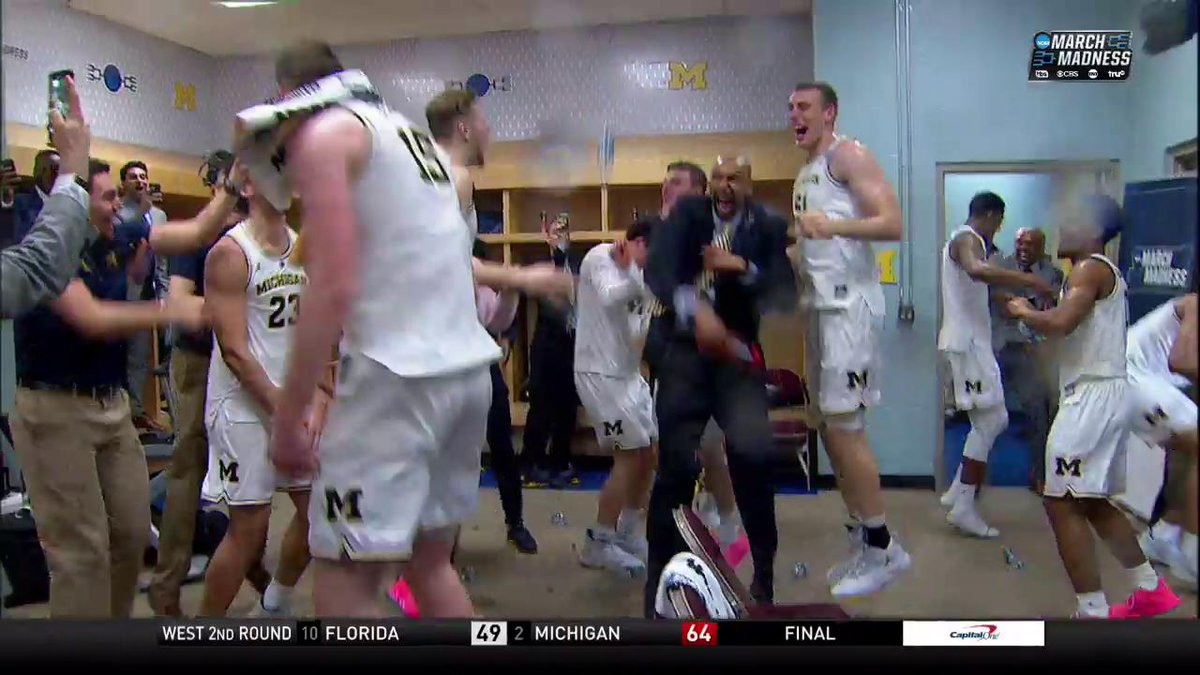 Lol John Beilein too old to be celebrating like that, he got outta there real quick (via @marchmadness)