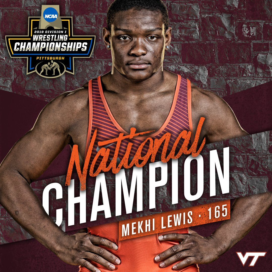 YOUR FIRST NATIONAL CHAMPION. FROM VIRGINIA TECH.  MEKHI LEWIS!!!  #HOKIES<br>http://pic.twitter.com/F6D2PrxhPA