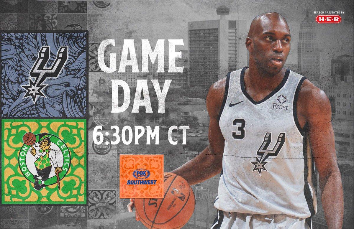 It's GAMEDAY in Boston!  🆚 @celtics 📍 TD Garden ⏰ 6:30pm 📺 @FOXSportsSW | @NBATV 📻 @1200WOAI | @kxtn1075 📲 http://on.nba.com/2CiDsoF