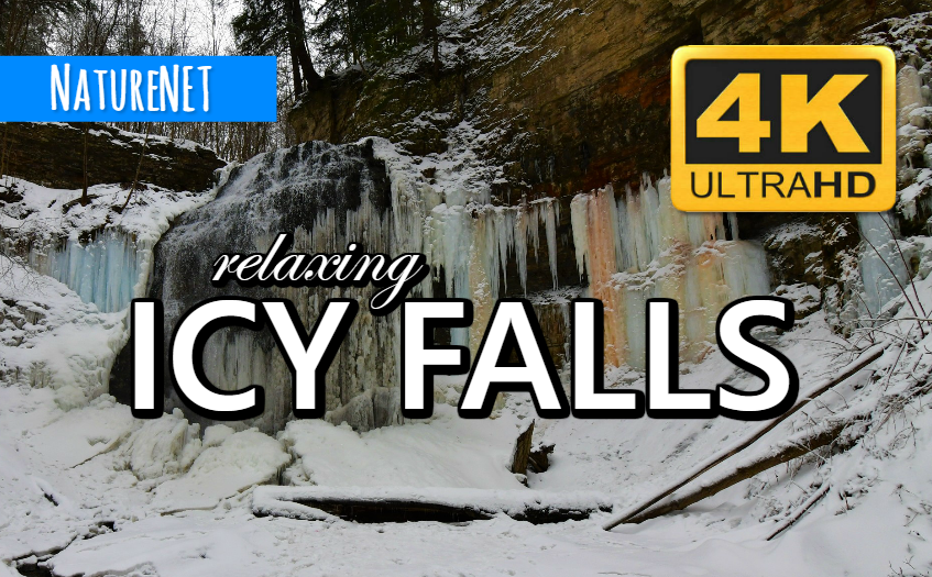 4K Partially Frozen Waterfall   Unique Nature Sounds https://buff.ly/2upUHzC  #sleep #relax #study #chill #waterfall #4K #meditate #nap #nature