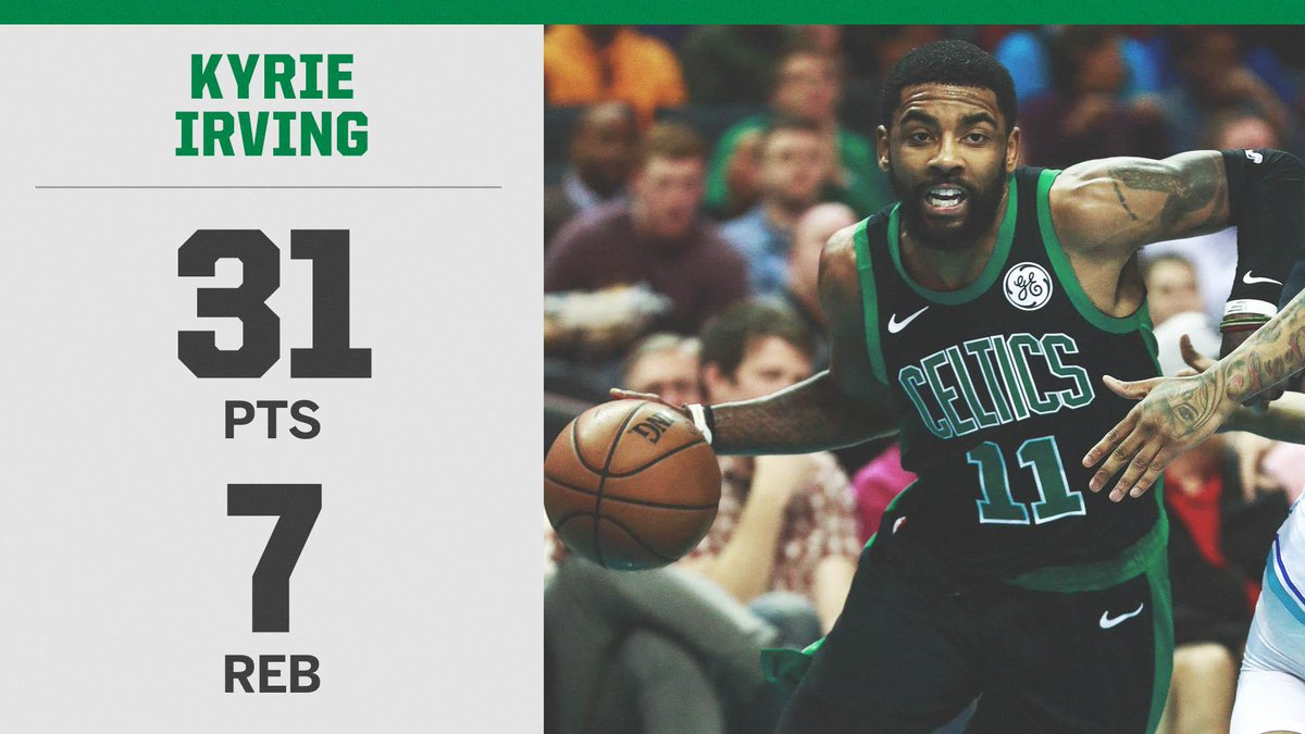 Kyrie Irving became the fourth player in Celtics history with 30 points in five straight games, joining Larry Bird, @paulpierce34 and John Havlicek.