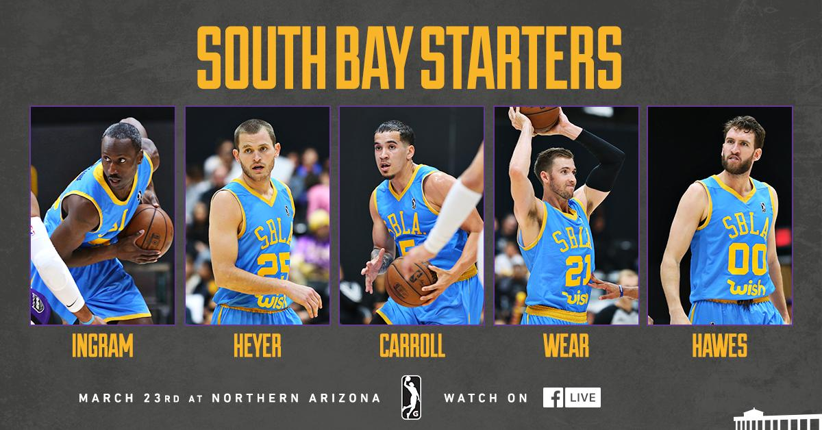 One more time. ✊  Tonight's Season Finale Starters.  🆚 Northern Arizona ⏰ 7:00pm PT 💻 Facebook Live » https://on.nba.com/2WltZEd