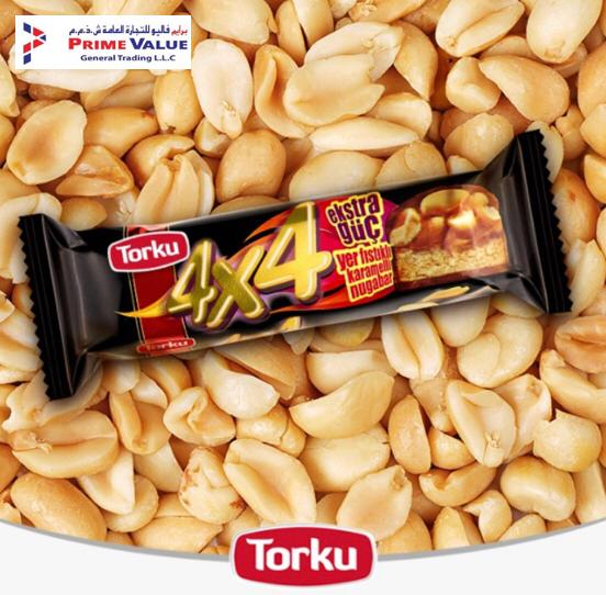7ac3eb112c13 ... Prime Value General Trading LLC Torku 4x4 Milk Chocolate Coated Nougat  Bar with Caramel   Peanut Available in Supermarkets across UAE in AED 1 -  only!