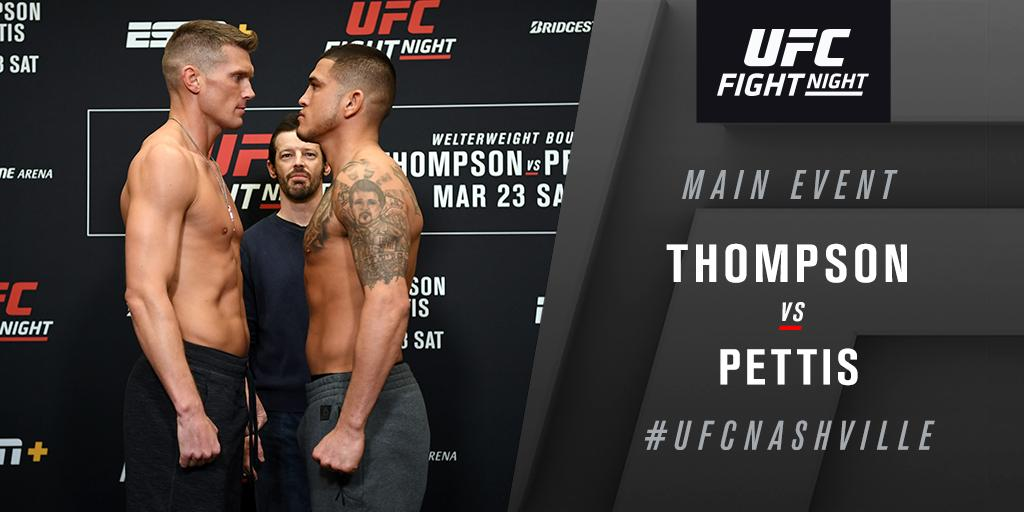 Main event on deck!  @WonderboyMMA returns to the Octagon to face @ShowtimePettis NOW on ESPN+ ➡️ http://plus.espn.com/ufc  #UFCNashville