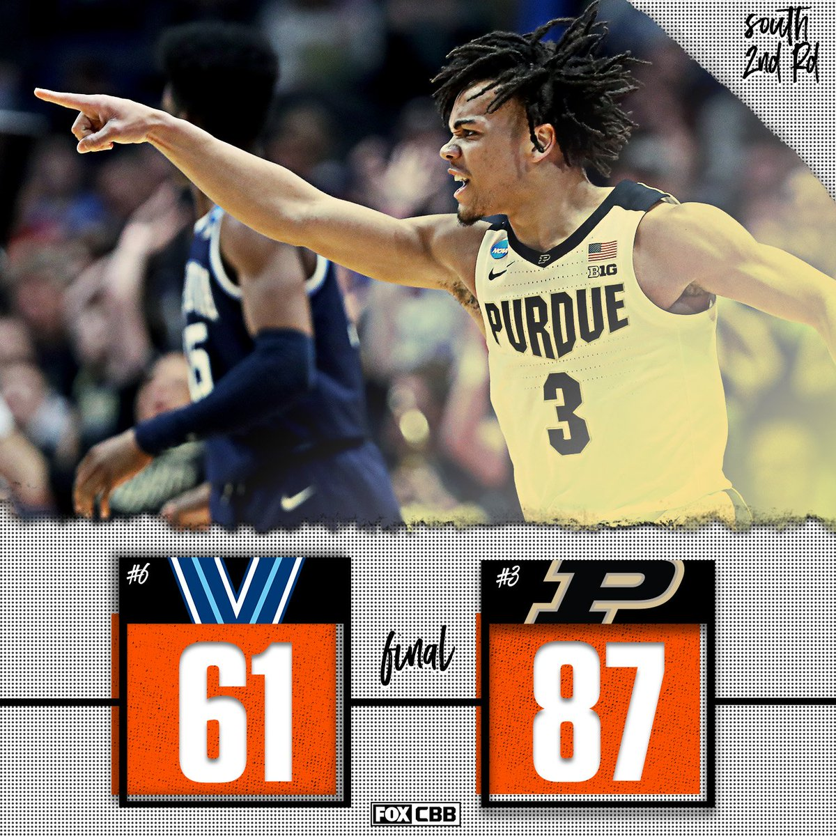 THERE WILL BE A NEW CHAMPION  @BoilerBall (& Carsen Edwards) dominate in their 2nd round victory over Villanova!