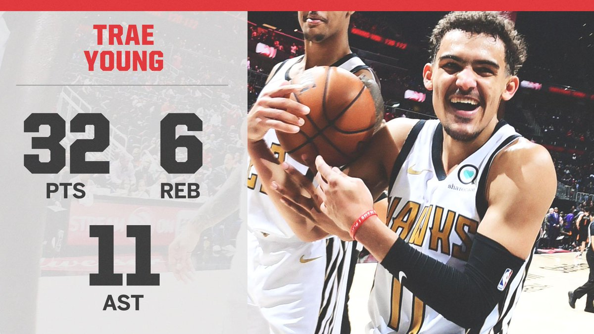 .@TheTraeYoung's 5th 30+ pts, 10+ ast game of the season — ties Steph and MJ for the most such games by a rookie over the last 35 seasons 😳