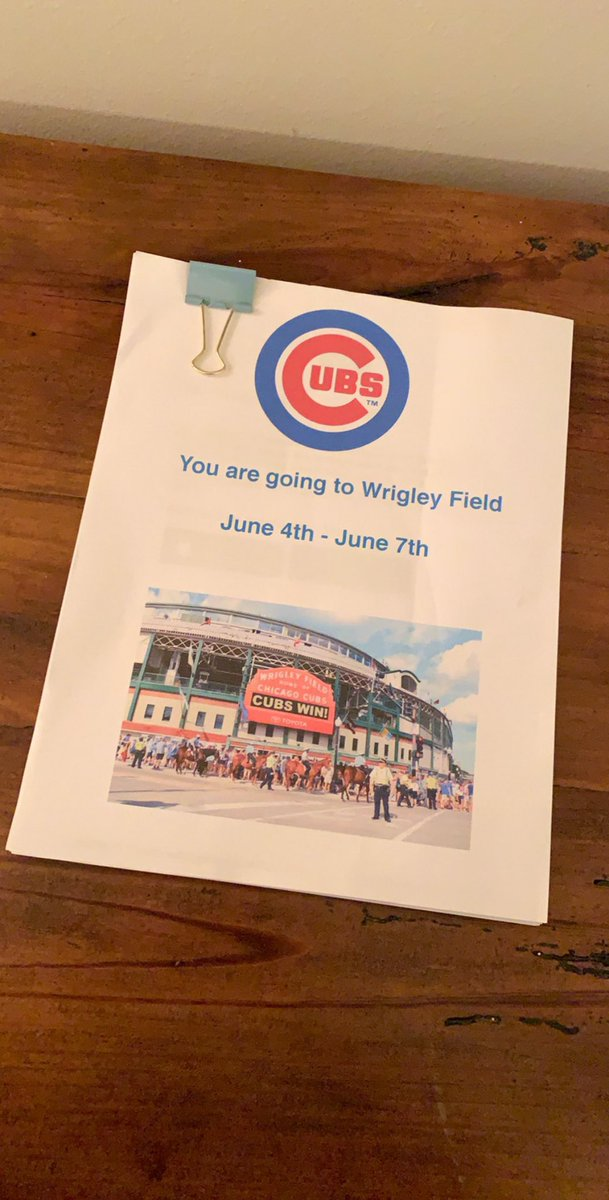 There were definitely tears shed tonight. 22 years later and I'm FINALLY going to my first game at Wrigley!!!! Best birthday gift EVER!  <br>http://pic.twitter.com/sNSub3qy05