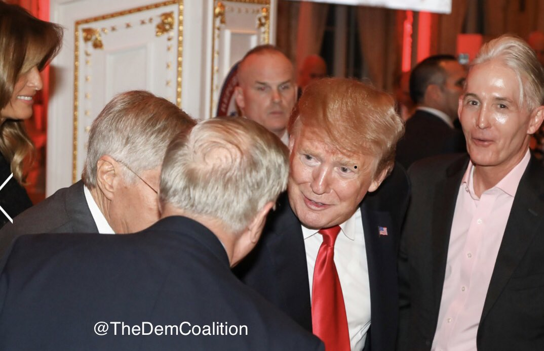 Here's a photo of Trump embracing Lindsey Graham last night at Mar-a-Lago. Trey Gowdy and Melania are also in the picture. No one in this picture looks upset over Trump's attacks on McCain. And that's truly pathetic. But not shocking.
