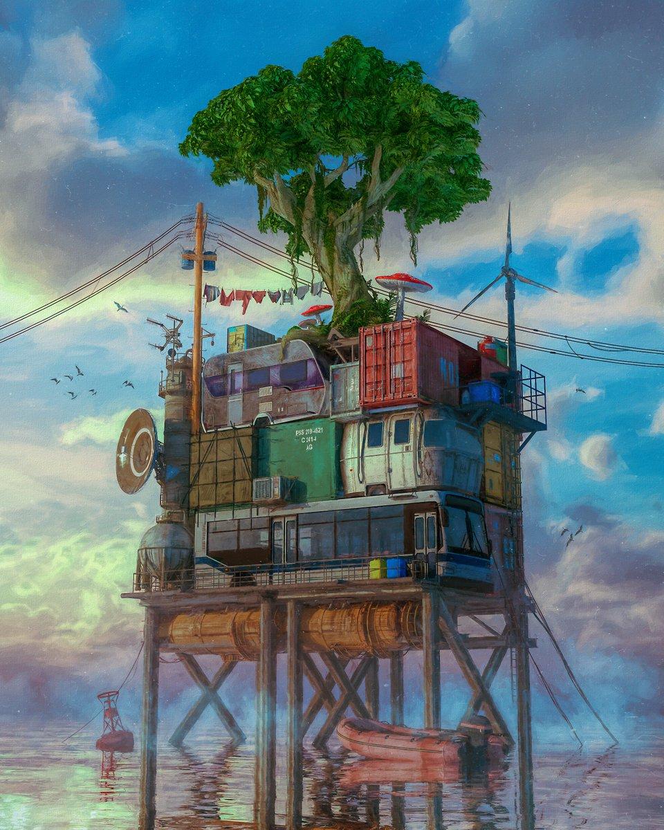 """beeple on Twitter: """"#everyday #cinema4d - OCEAN FRONT… """""""