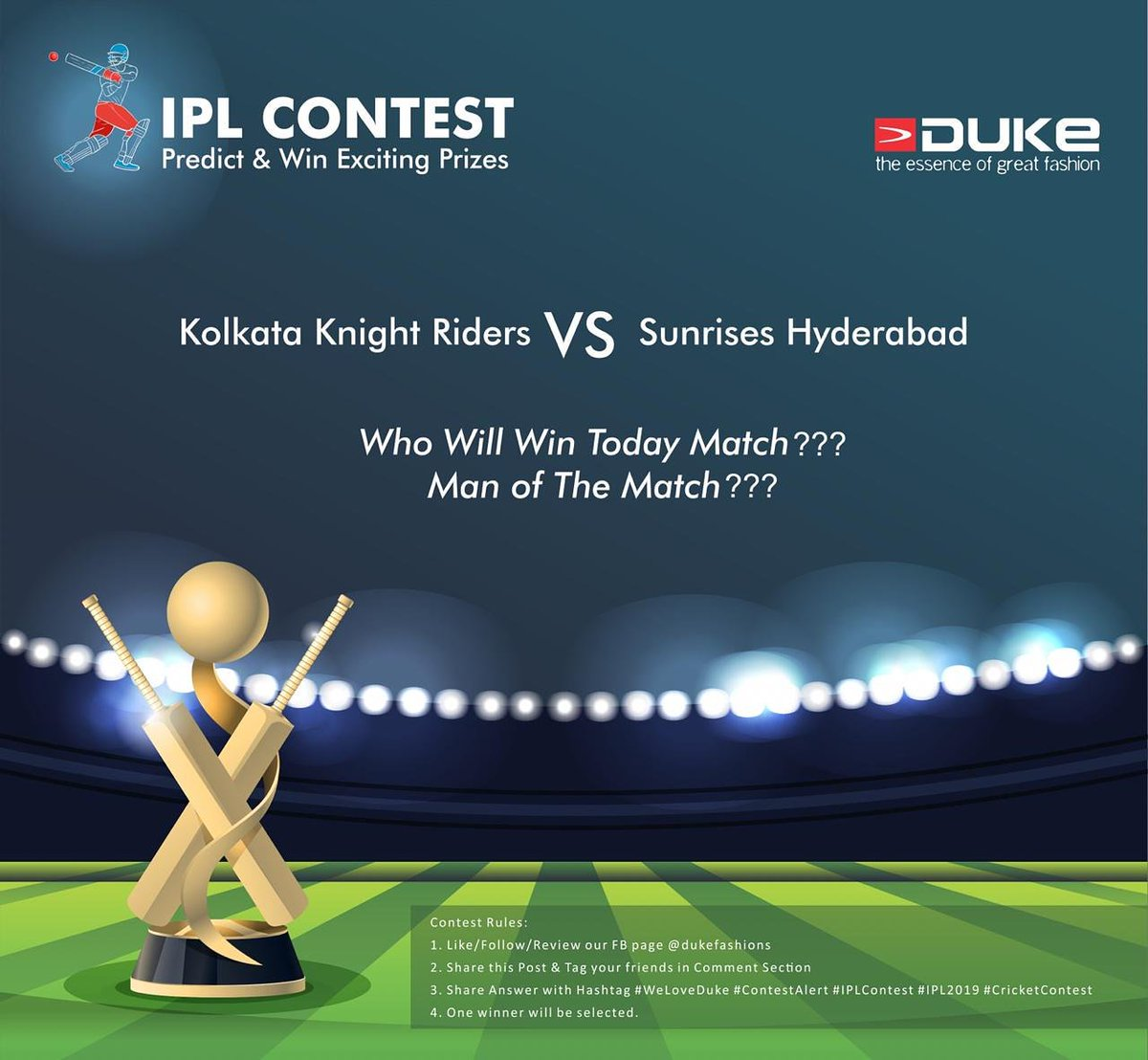 #ContestAlert: The IPL season has arrived &amp; we know hw much u are excited. Let's make it more interesting 4 u. Give ur prediction about the winner of IPL 2019 matches of Kolkata Knight Riders  vs Sunrisers Hyderabad &amp; if ur prediction goes right, u ill be awarded a special gift <br>http://pic.twitter.com/bWHZVxIgOE