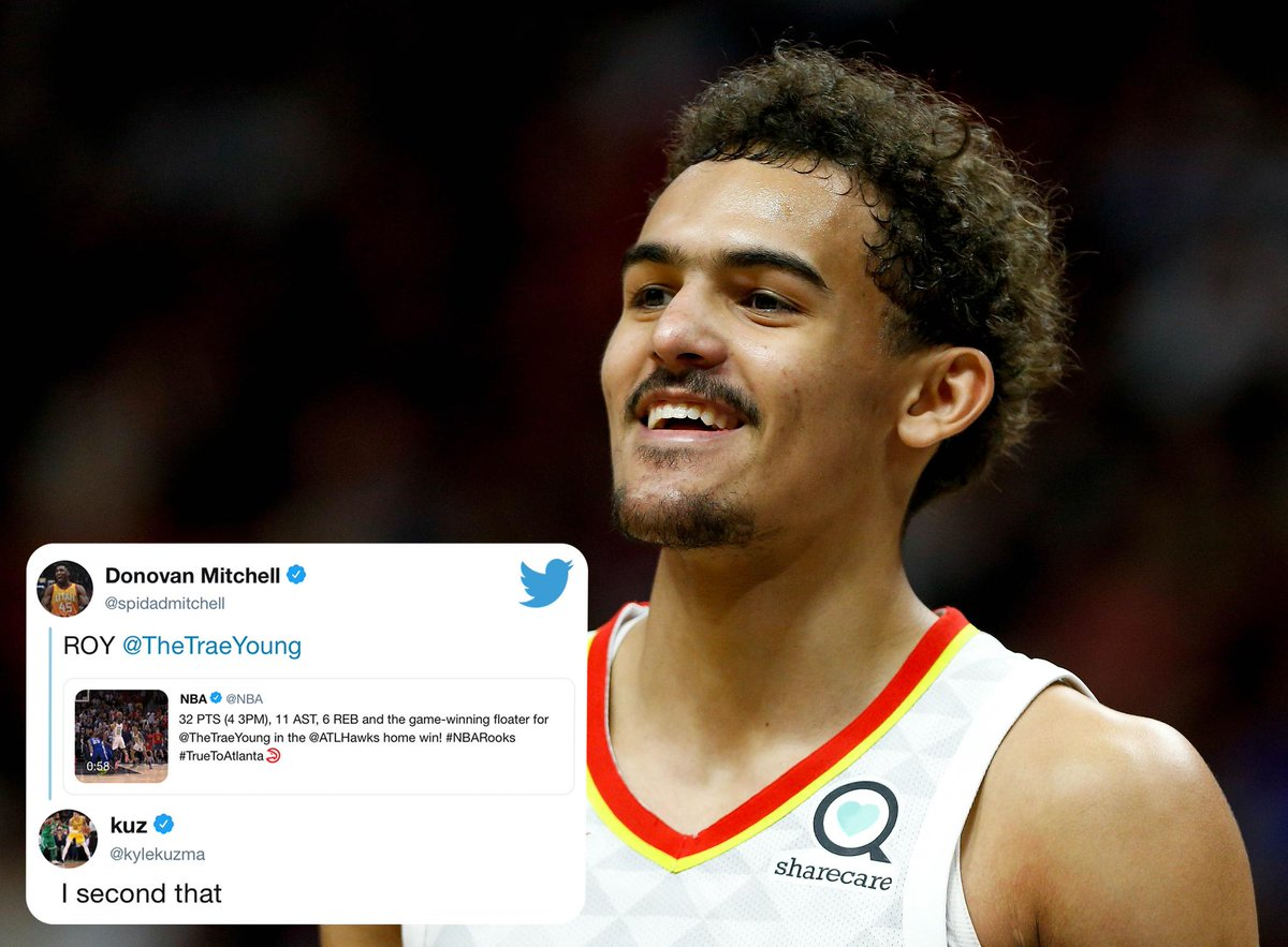 Trae Young for Rookie of the Year?   @spidadmitchell and @kylekuzma think so 😎