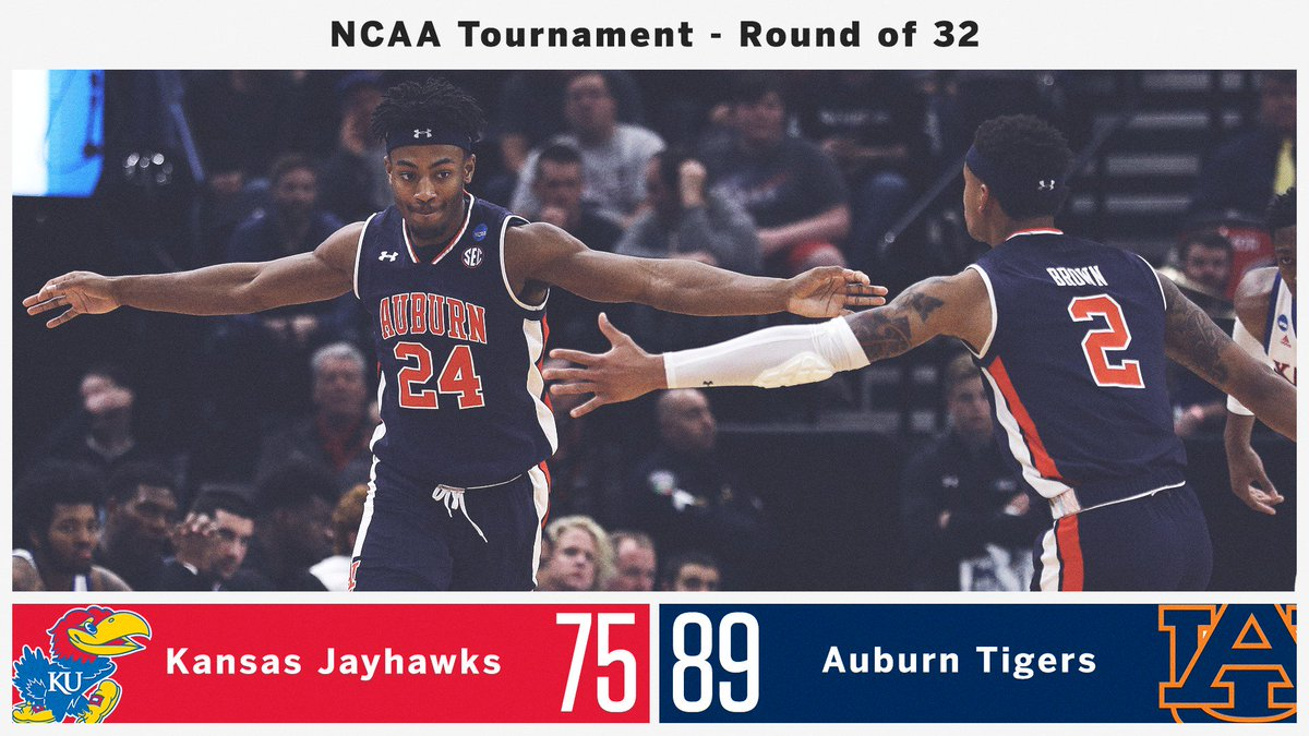 WAR EAGLE!  @AuburnMBB takes down Kansas and punches its ticket to the Sweet 16! https://t.co/UJswZyU3SB