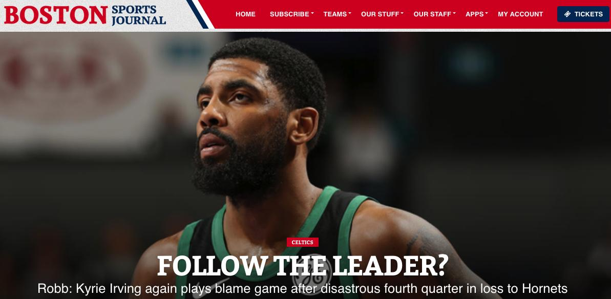 .@BrianTRobb: Kyrie Irving again plays blame game after disastrous fourth quarter in loss to Hornets #celtics https://www.bostonsportsjournal.com/2019/03/24/robb-kyrie-irving-plays-blame-game-disastrous-fourth-quarter-loss-hornets/…