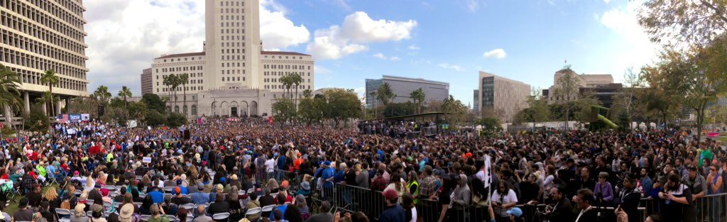 """Thank you to our """"yuge"""" crowd who came out to our rally in Los Angeles today. This is what we mean when we say we are building a nationwide movement that will transform the country. #BernieInLA"""