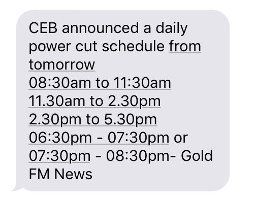 ALRIGHT!  But then again how do we know to which slot we belong to? 🤔 And if they don't notify us about that then no point announcing a schedule even.  #PowerCutSL