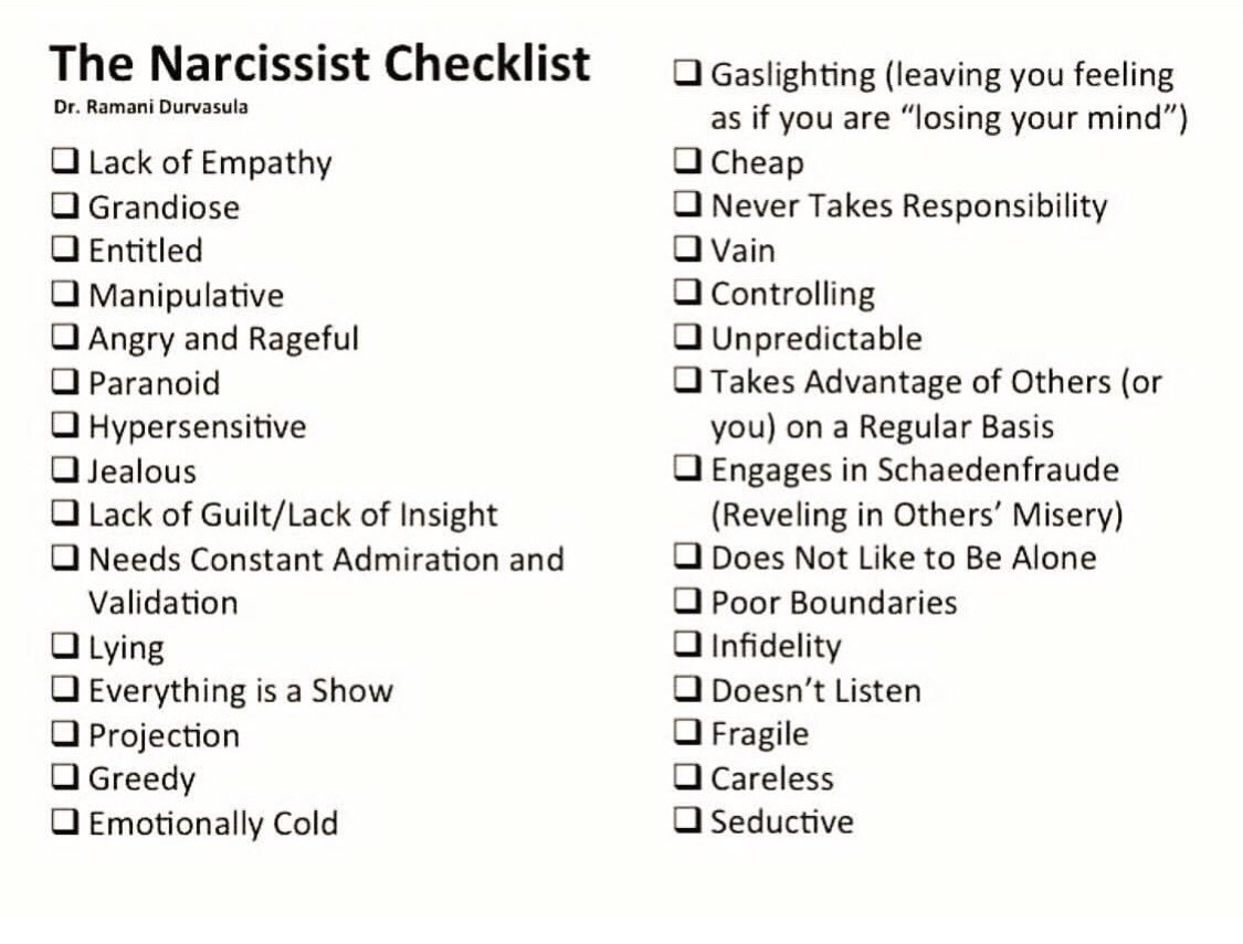Fuck ...... I almost ticked on all. How many did you tick on.   #narcissism #narcissistpersonalitydisorder #NarcissisticAbuse #Narcissist #narcs #narcissistmom #emotionalabuse #cptsd #mentalhealth #mentalhealthrecovery #mentalhealthrawareness #narcissus #narcissisticmother