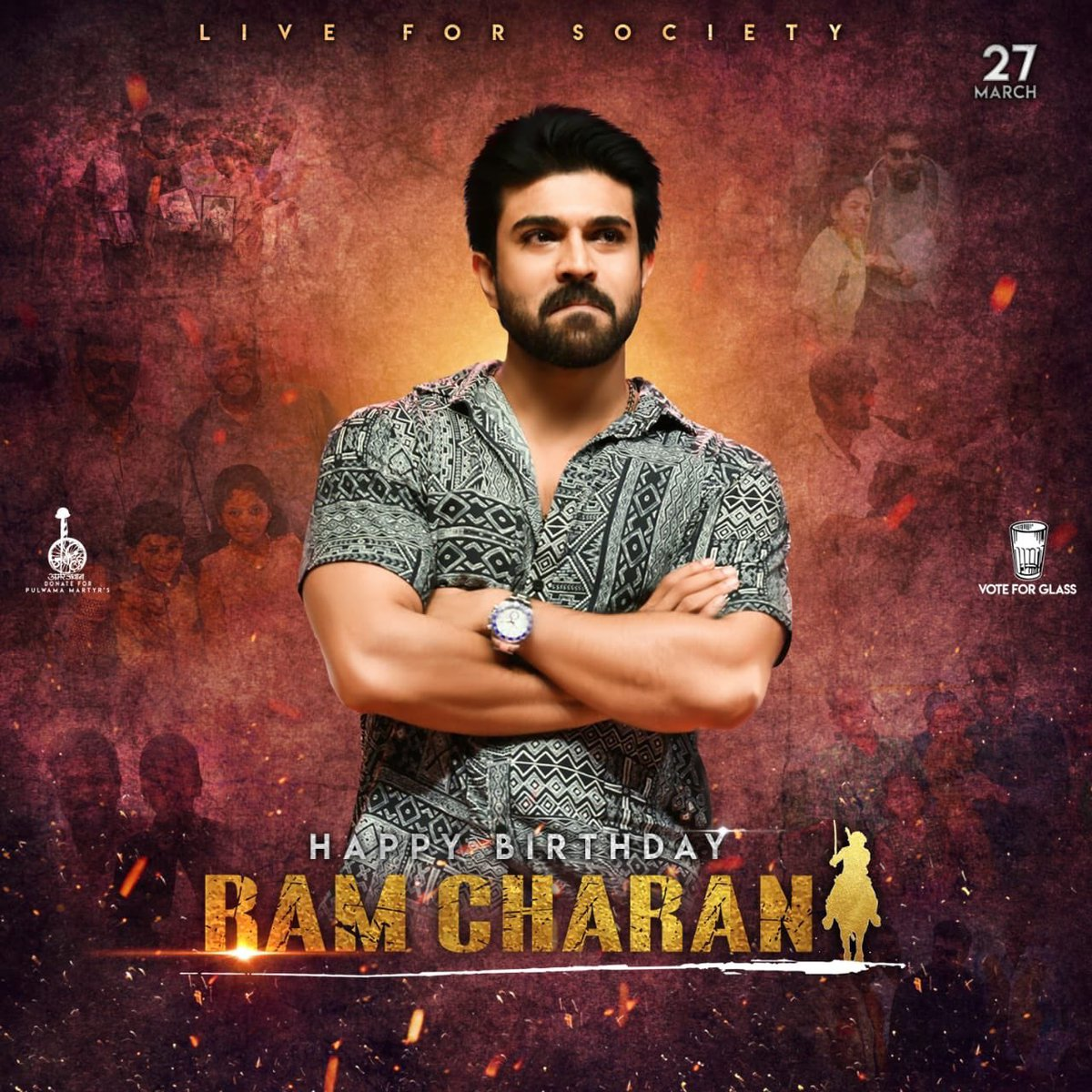A cool common DP for #MegaPowerStar #RamCharan&#39;s upcoming bday..  RAMCHARAN BDAY CDP<br>http://pic.twitter.com/o9Z8sy3mPE