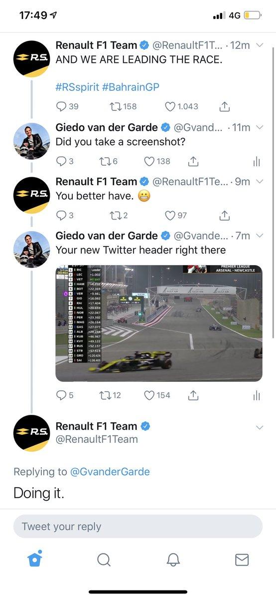 I think @RenaultF1Team already won the race. #BahrainGP