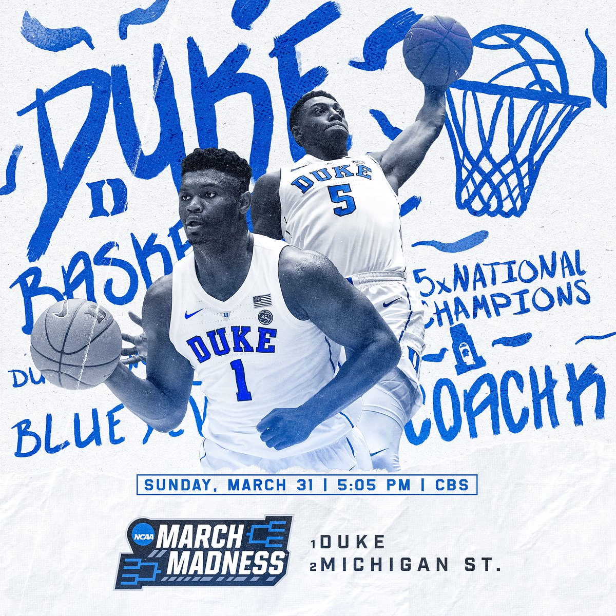 WHO YA GOT!?!? 🏀🚀💦#MarchMadness #Duke #Sparty #BewareTheIdesOfMarch #CoachK #classic #podcast   RT for Duke  Like for MSU
